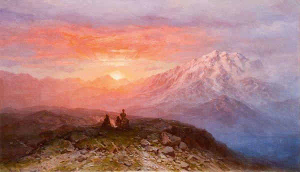 Закат в Кавказских горах.