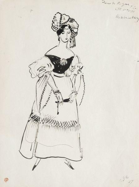 Дама с веером. Эскиз костюма к постановке оперы П.И. Чайковского