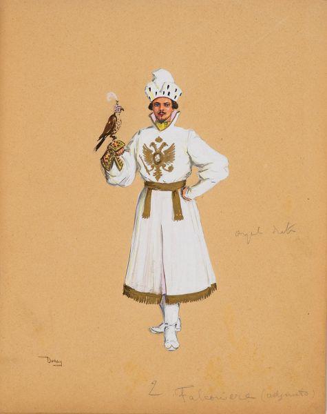 Сокольничий. Эскиз костюма к театральной постановке «Борис Годунов».