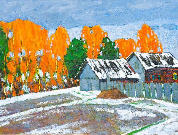 В деревне осень.