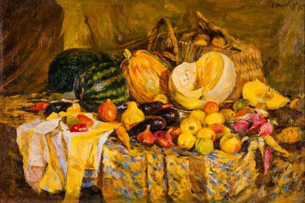 Натюрморт с овощами и фруктами.