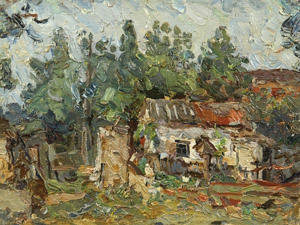 Деревенский пейзаж с домом.