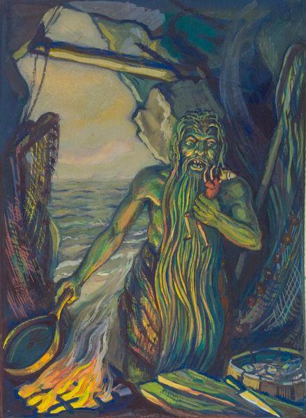 Пиннокио и Зеленый Рыбак. Иллюстрация к книге