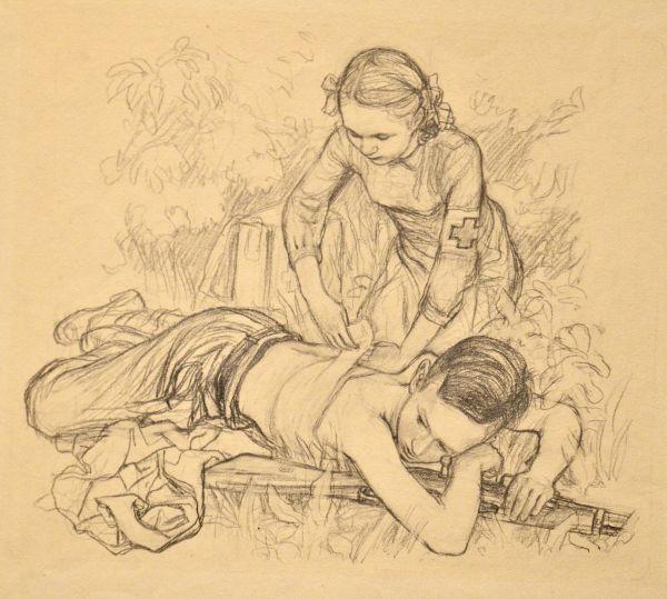 Медицинская сестра и раненый мальчик.