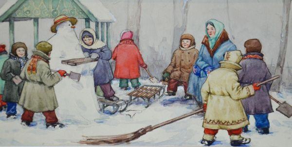 Иллюстрация к книге Г.А. Скребницкого «Снеговик».