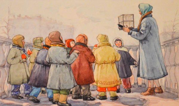 Скворушка. Иллюстрация к книге Г.А. Скребицкого «Снеговик».