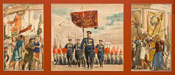 «Парад победы». Эскиз дипломного триптиха. Мастерская А.А. Дейнеки.