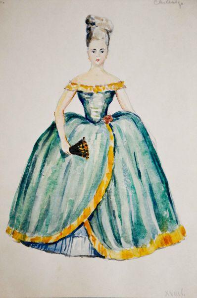 Дамское платье XVIII в. Эскиз книжной иллюстрации.