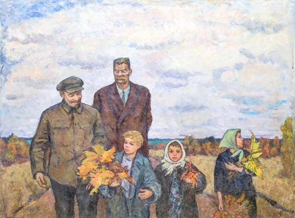 В.И. Ленин и М. Горький с детьми.