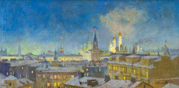 Москва ночью при луне.