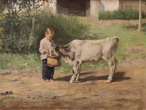 Мальчик с теленком.