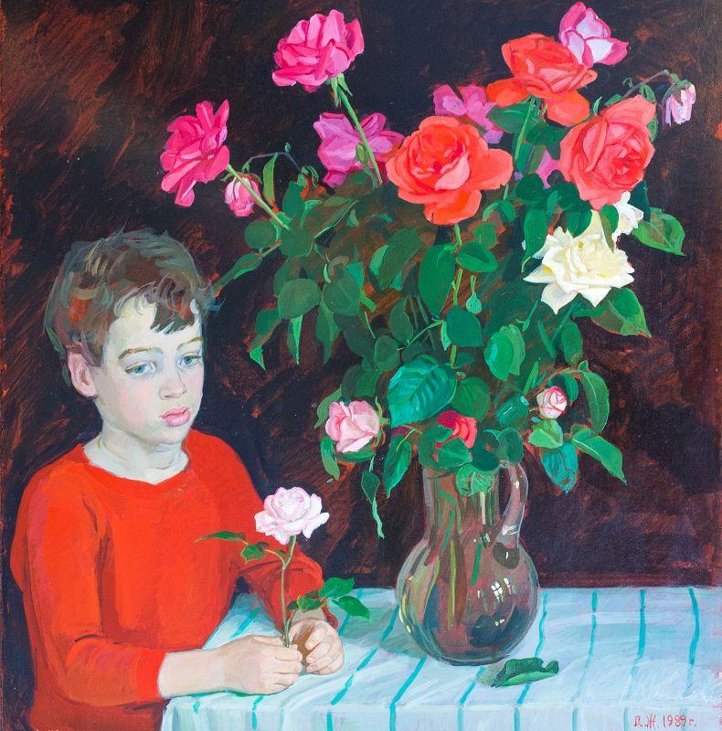 Мальчик и розы.