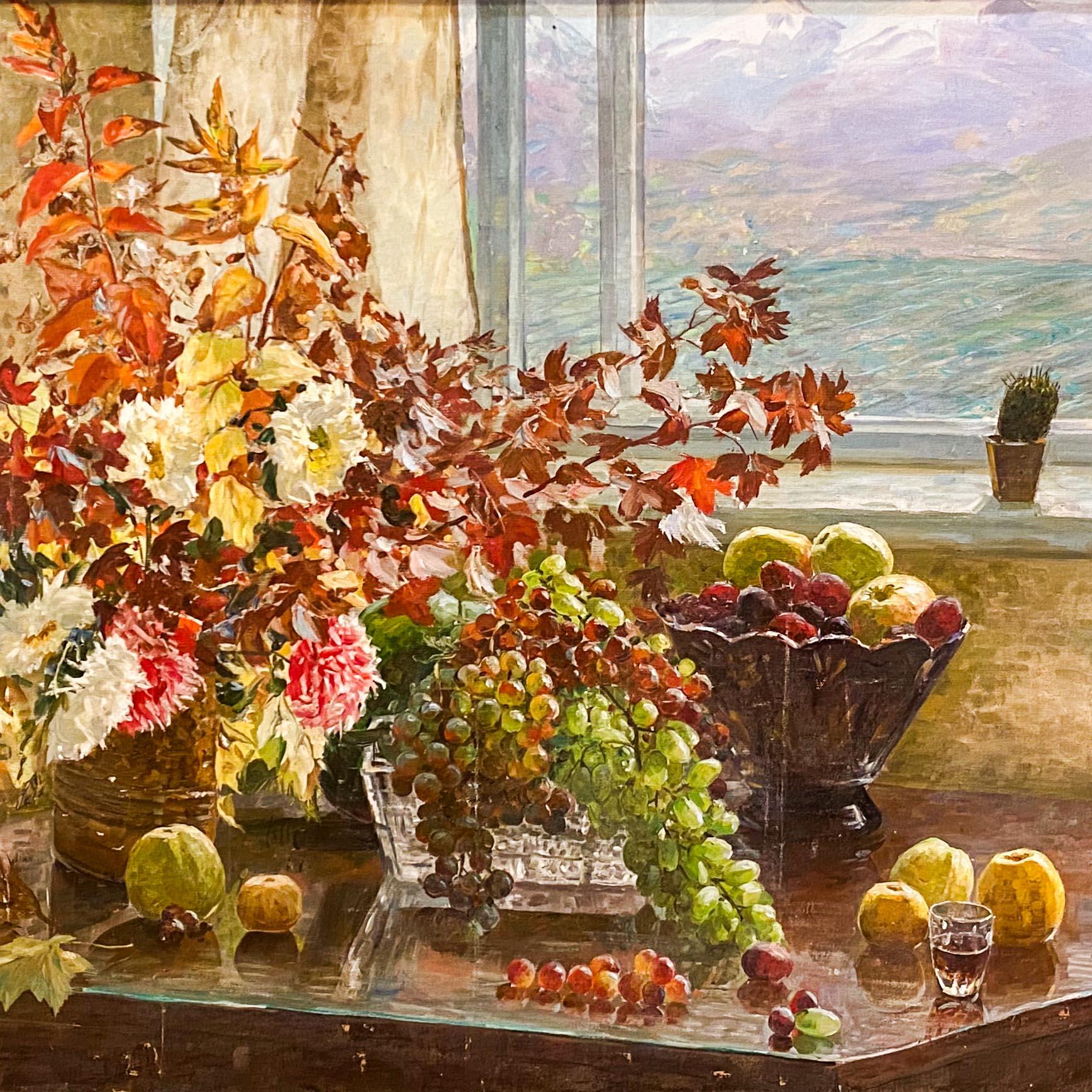 Виноград и цветы.