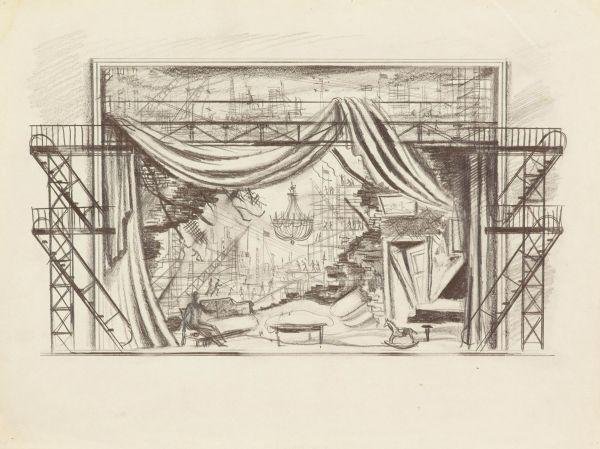 Эскиз театральной декорации.