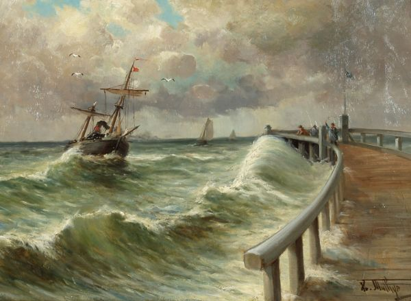 Парусник в море.