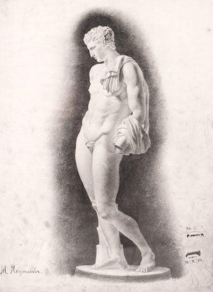 Гипсовая модель мужчины с драпировкой.