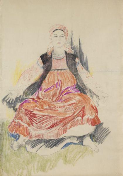 Крестьянка в красном платье.