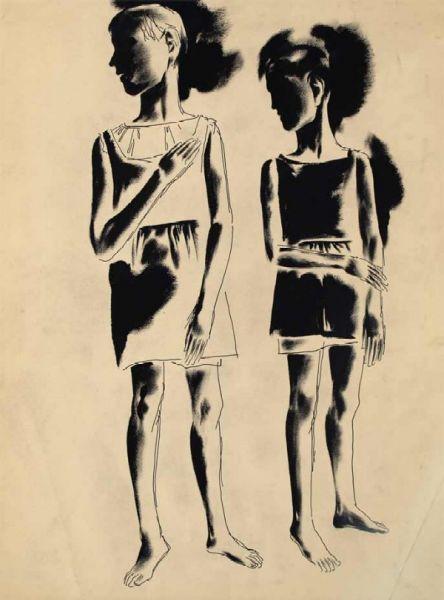 Дети. Две девочки. (двусторонняя).