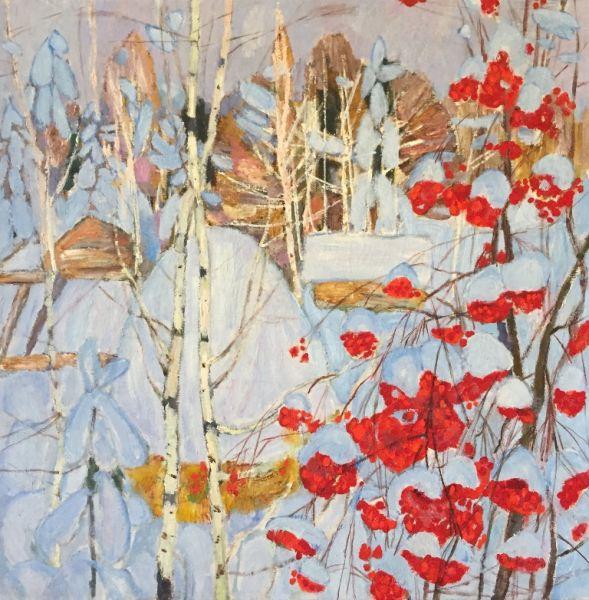 Зимний пейзаж с рябиной.