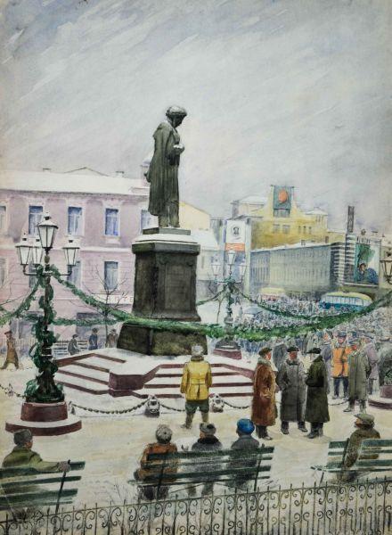 Торжества по поводу Пушкинского юбилея на Страстном бульваре.