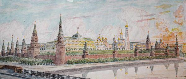 Панорама Московского Кремля.