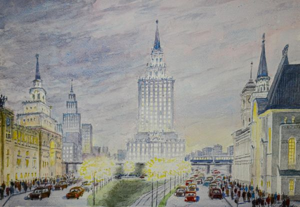Москва. Вид на площадь трех вокзалов.