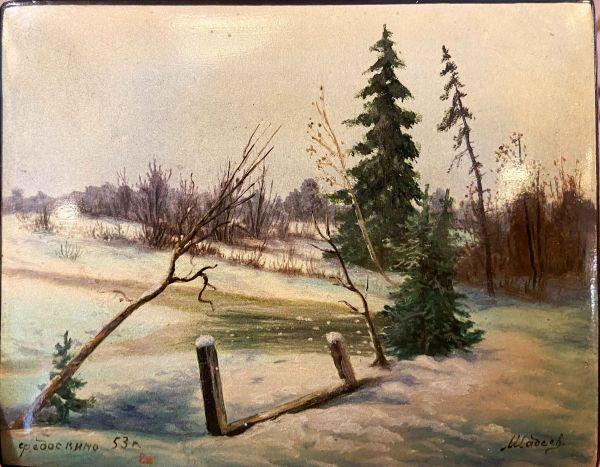 Шкатулка с изображением зимнего пейзажа.