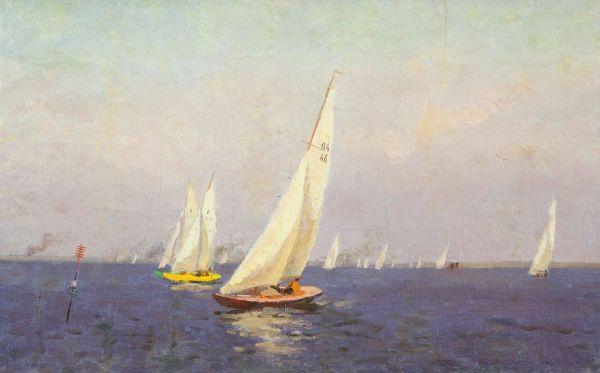 Яхты на заливе.