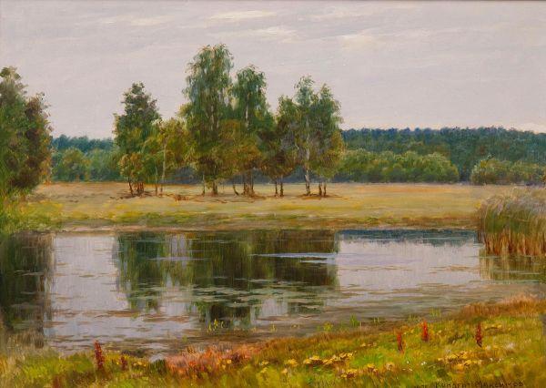 Летний пейзаж с рекой.