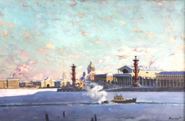 Стрелка Васильевского острова зимой.