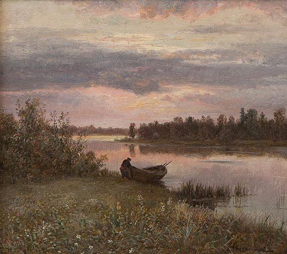 Пейзаж с речкой и рыбаком.