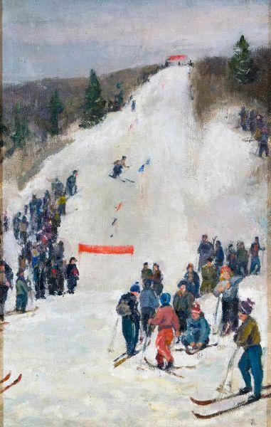 Лыжники.