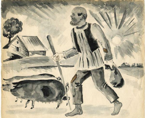 Крестьянин со свиньями.