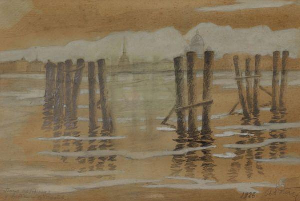 После наводнения у Академии художеств. Ленинград.