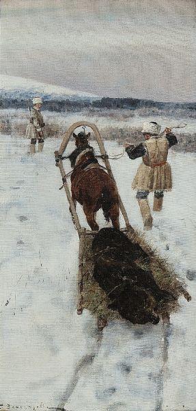 Возвращение с медвежьей охоты.