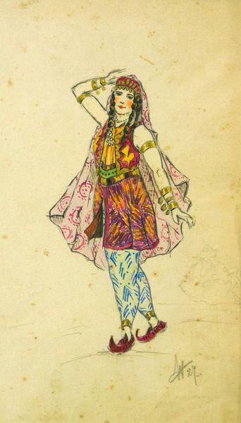 Эскиз костюма. Зарема (балет Бахчисарайский фонтан).