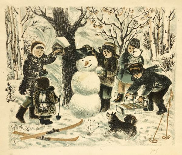 Лепка снеговика.