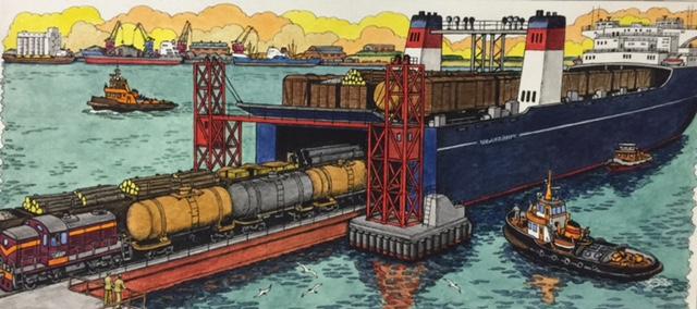 Railway ferry.