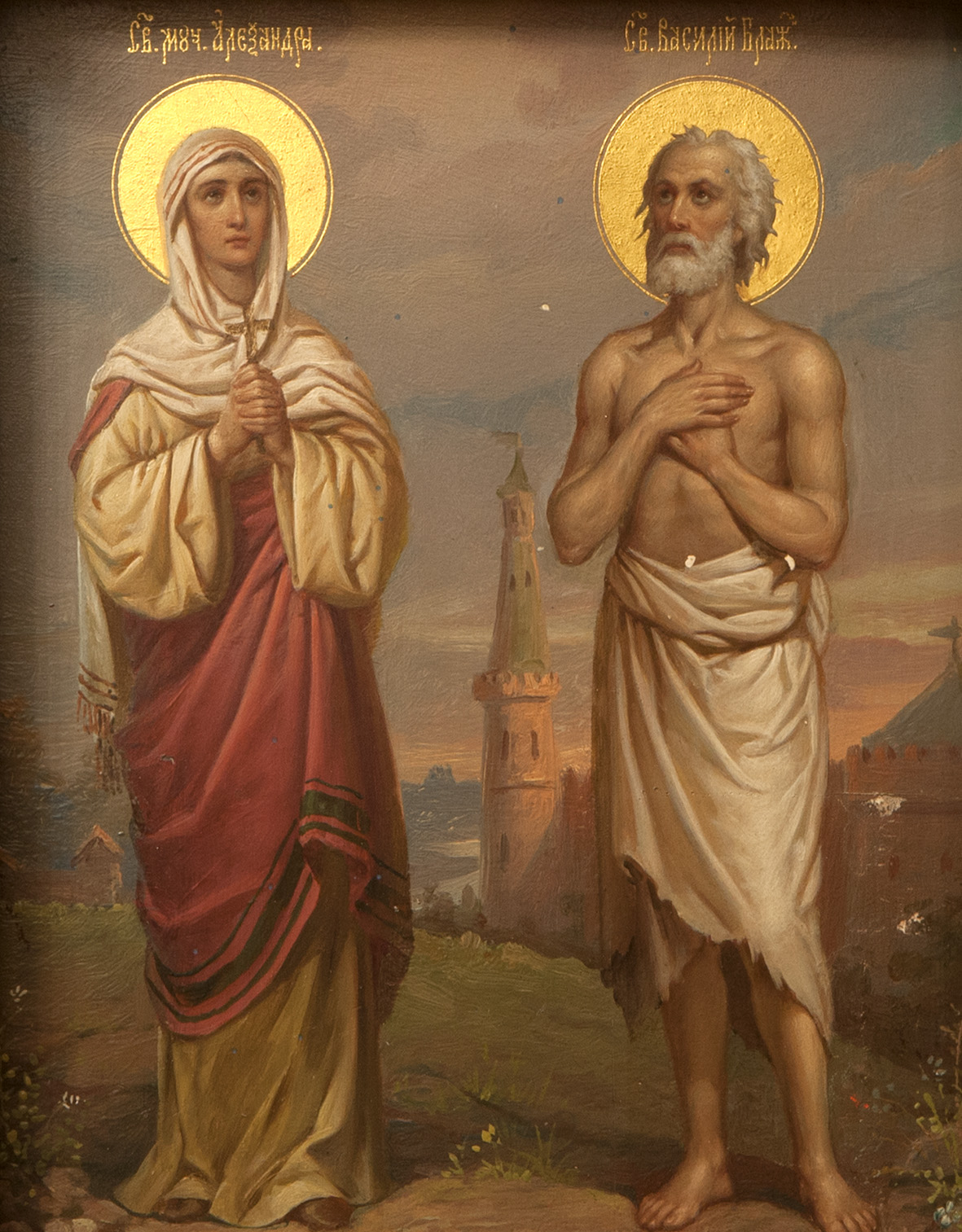 Images of holy martyr Alexandra and Basil the Blessed.