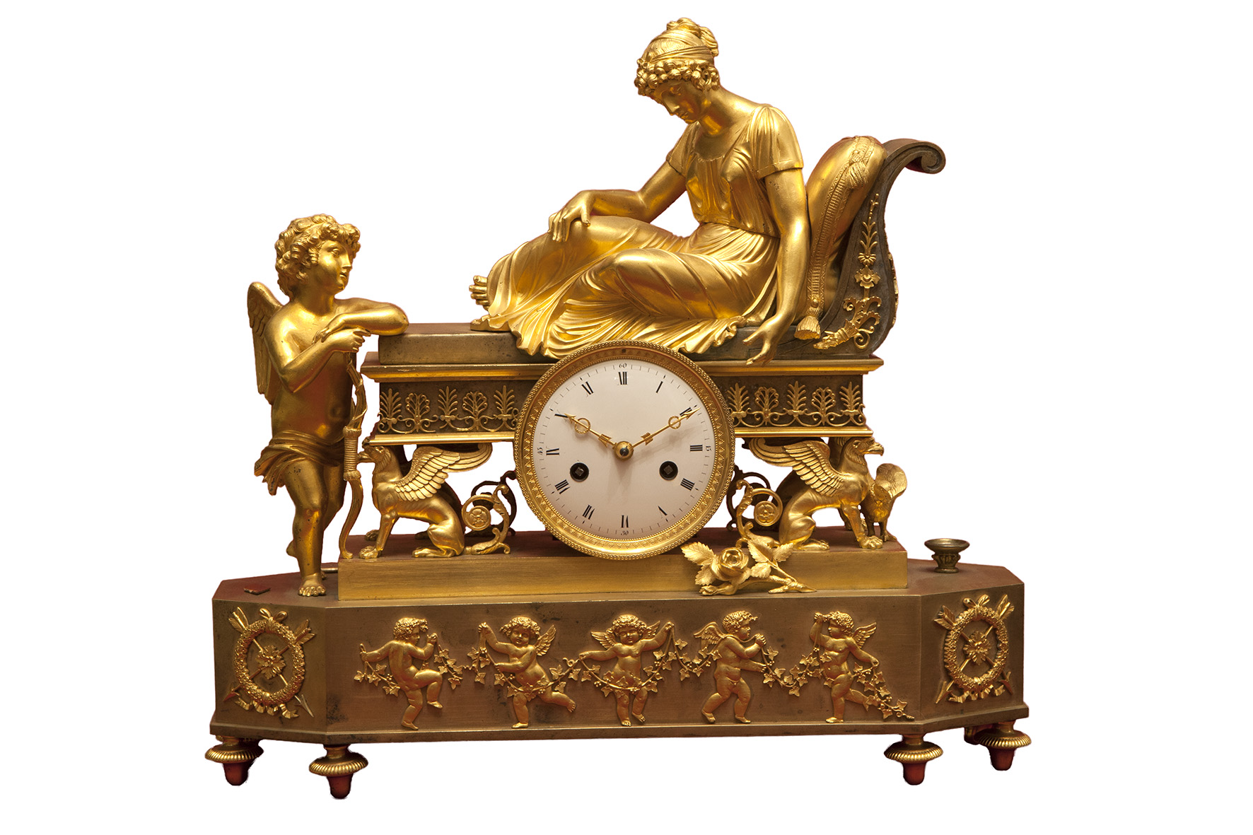Clock. The lady on Recamier with Cupid.