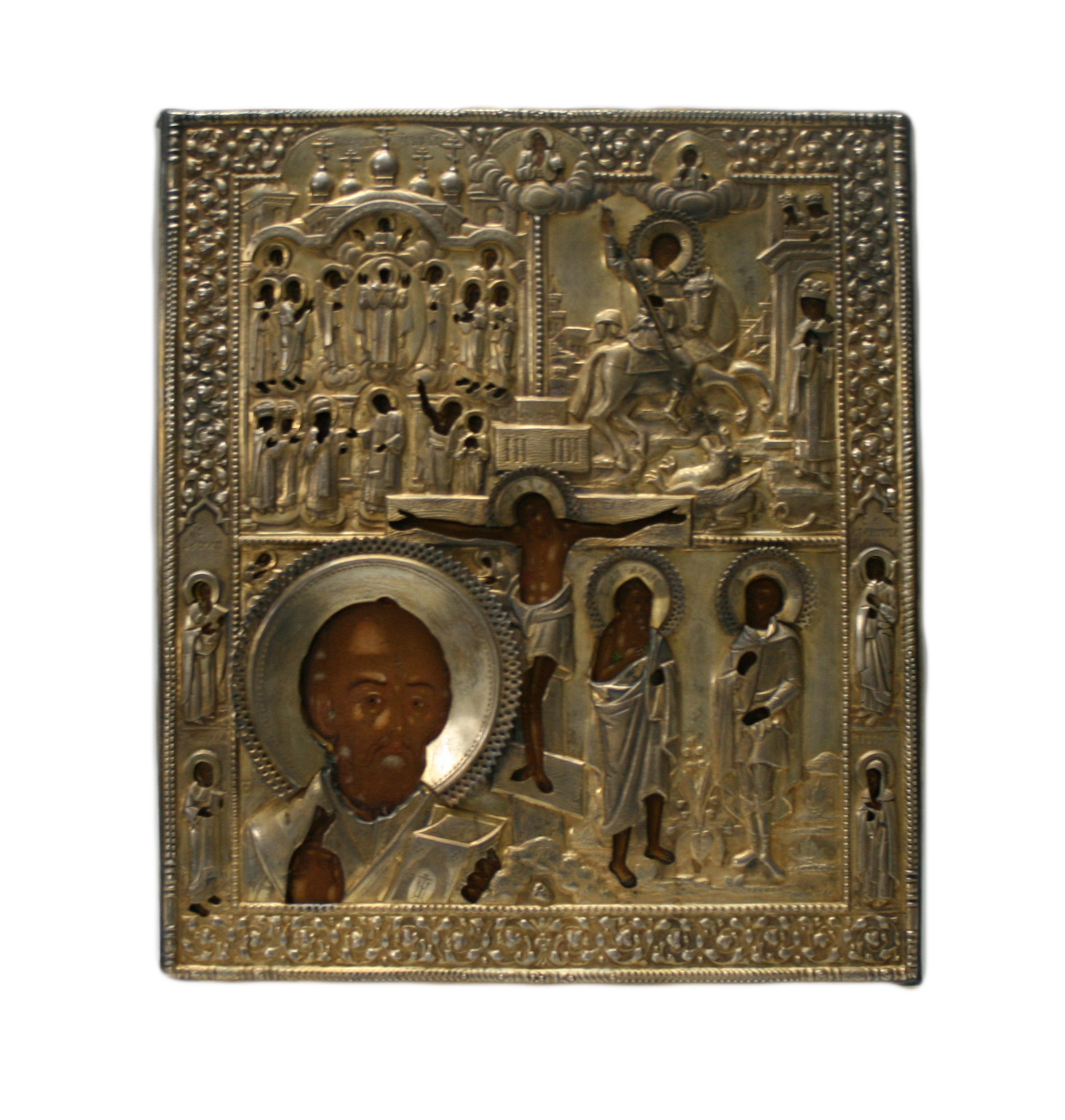 Fourfold icon with The Crucifixion.