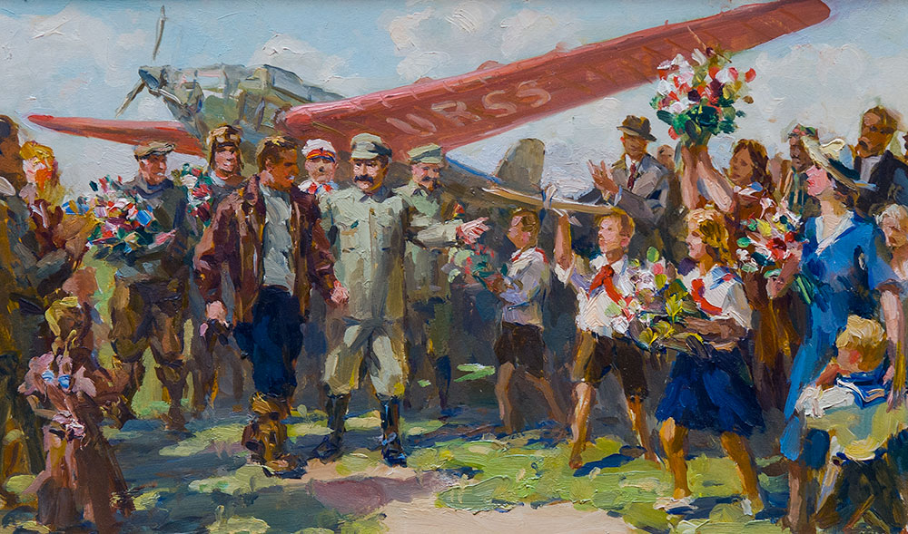Встреча И.В. Сталина и членов правительства с легендарным экипажем: В.Чкаловым, Г.Байдуковым и А.Беляковым.