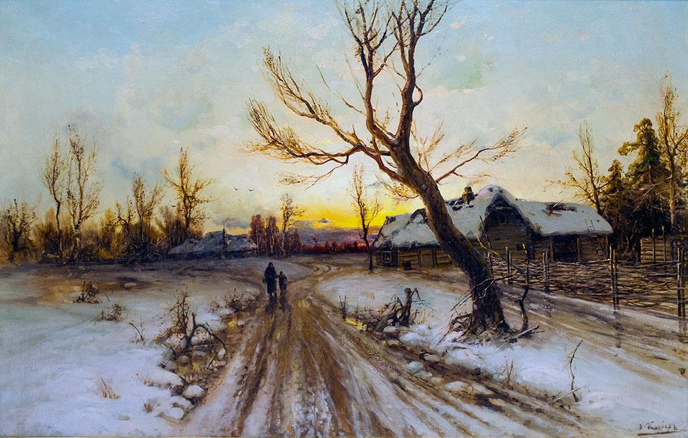 Зимний пейзаж с дорогой.