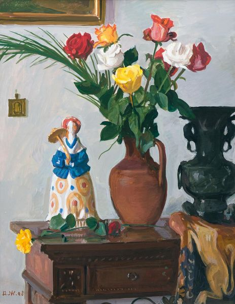 Натюрморт с розами и куклой.