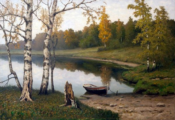 Начало осени. Пейзаж с рекой.