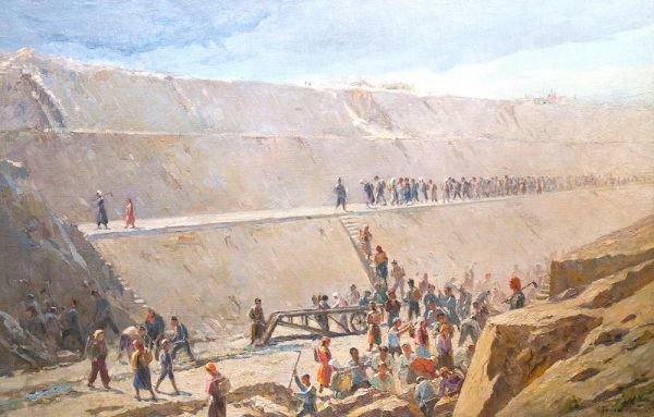 На строительстве Большого Ферганского канала.