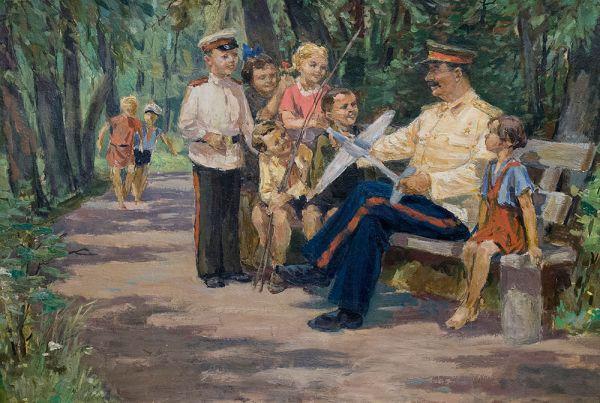 И.В. Сталин с детьми.