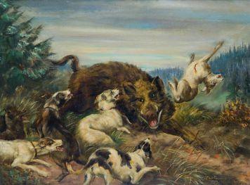Пейзаж охоты, бой кабана с пятью собаками.