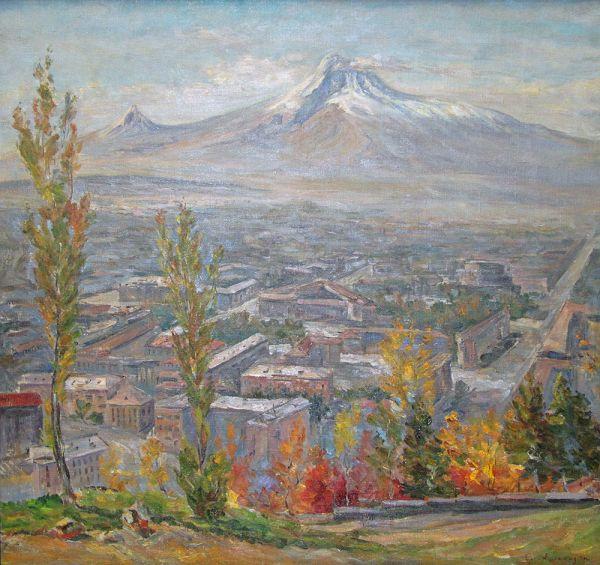 Вид на Ереван и Арарат.