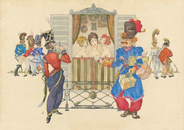 Эскиз к театральной постановке Казаки войска М.И.Платова В Париже.